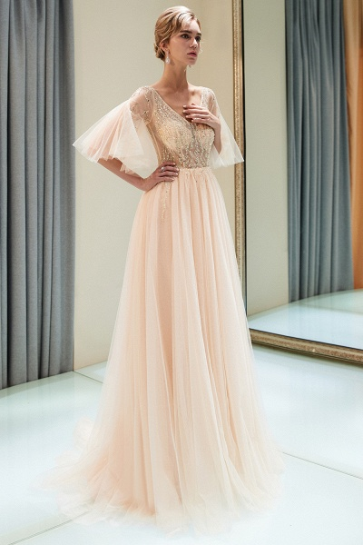 Modest Tulle A-line Prom Dress_5