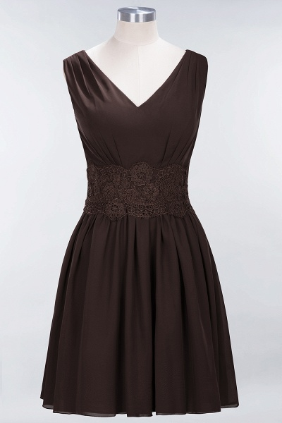 A-line Chiffon Lace V-Neck Sleeveless Mini Bridesmaid Dresses_11