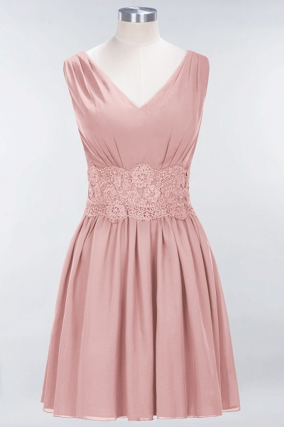 A-line Chiffon Lace V-Neck Sleeveless Mini Bridesmaid Dresses_6