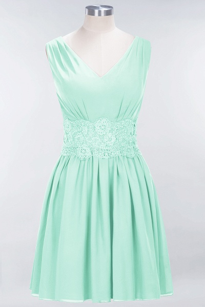 A-line Chiffon Lace V-Neck Sleeveless Mini Bridesmaid Dresses_34