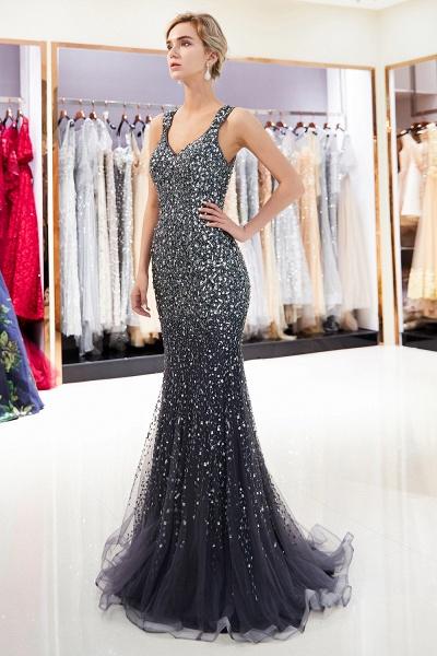 Mermaid V-neck Sleeveless Crystals Beading Floor Length Party Dresses_14