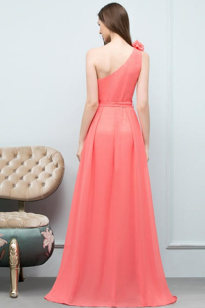 A-line Chiffon One-Shoulder Sleeveless Floor-Length Bridesmaid Dress with Bow Sash_2