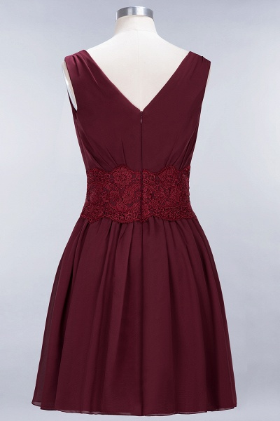 A-line Chiffon Lace V-Neck Sleeveless Mini Bridesmaid Dresses_38