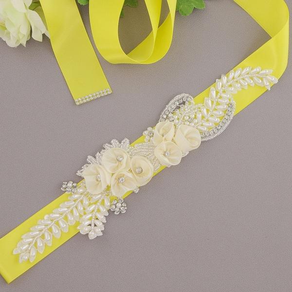 Handmade Flower Pearl Wedding Sash with Beadings_4