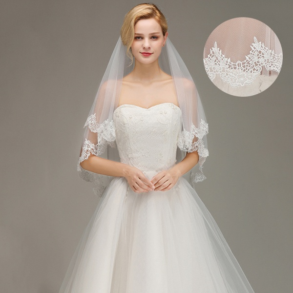 Elegant Two Layers Lace Edge Long Wedding Veil_2