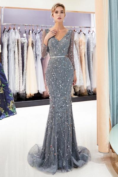Wonderful V-neck Tulle Mermaid Prom Dress_7