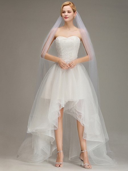 One Layer Cathedral Length Wedding Veil with Comb_2
