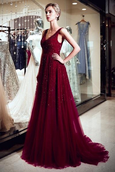 A-line V-neck Sleeveless Burgundy Sequins Tulle Long Evening Dresses_4