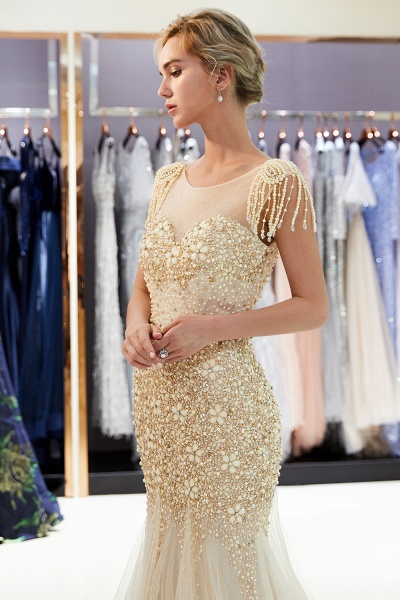 Fascinating Jewel Tulle Mermaid Prom Dress_15