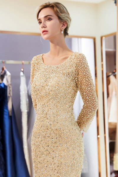 Long Sleeve Mermaid Floor Length Sequins Formal Party Dresses_18
