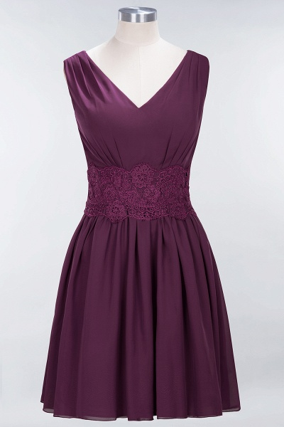 A-line Chiffon Lace V-Neck Sleeveless Mini Bridesmaid Dresses_19