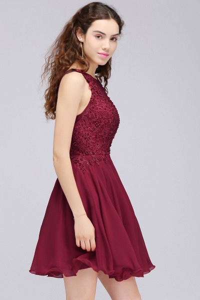 A-line Chiffon Lace Jewel Sleeveless Short Bridesmaid Dresses with Appliques_3