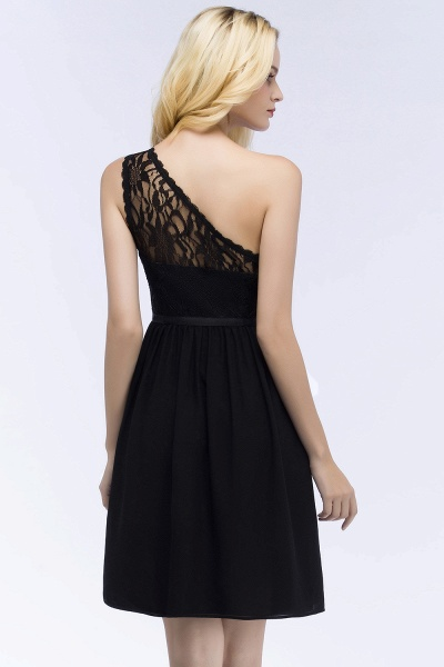 A-Line Chiffon Lace One-shoulder Short-Sleeves Knee-Length Bridesmaid Dresses with Sash_2