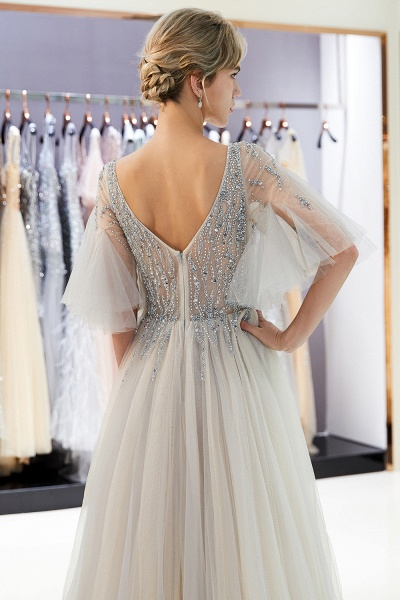 Modest Tulle A-line Prom Dress_14