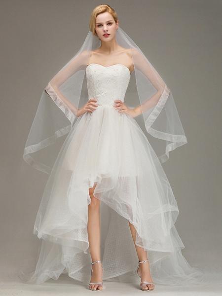 Two Layers Cut Edge Wedding Veil Tulle Bridal Veil_2