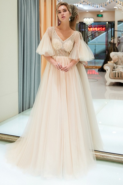 Modest Tulle A-line Prom Dress_6