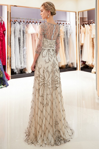 A-line Illusion Neckline Beading Evening Gowns with Sleeves_5