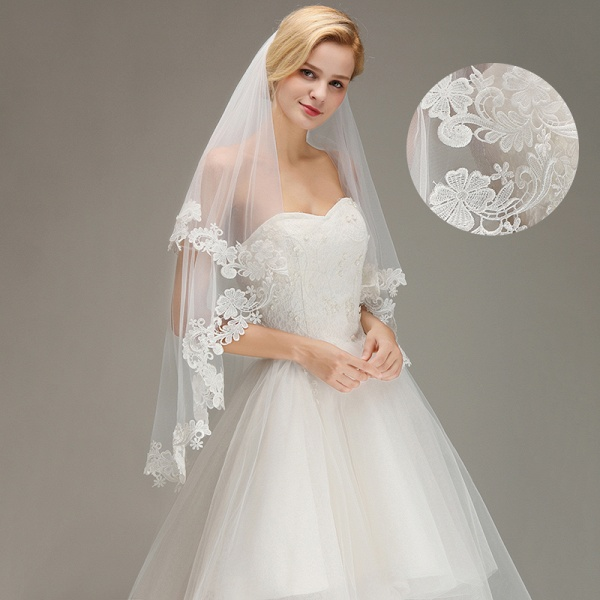 Two Layers Lace Edge Tulle Wedding Veil with Comb_5