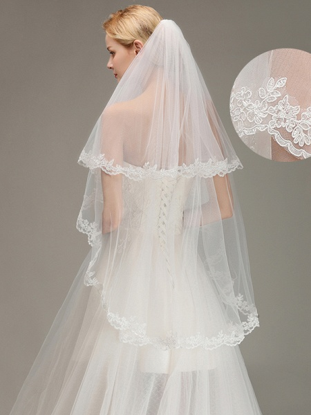 Two Layers Tulle Lace Edge Comb Wedding Veil