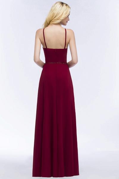 Simple A-Line Chiffon Spaghetti Straps Sleeveless Floor-Length Bridesmaid Dresses with Beading Sash_2