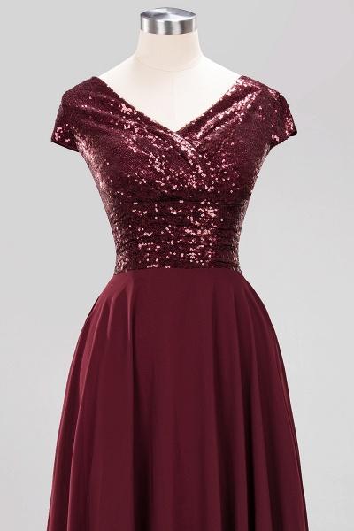 BM0156 A-Line Burgundy Chiffon Sequined V-Neck Sleeveless Ruffles Bridesmaid Dresses_12
