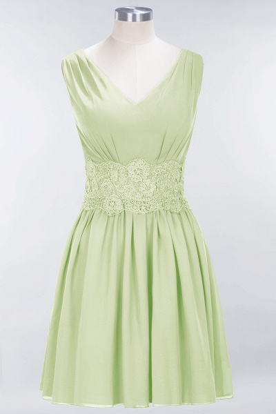 A-line Chiffon Lace V-Neck Sleeveless Mini Bridesmaid Dresses_33