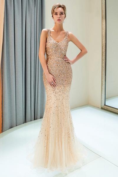 Mermaid V-neck Sleeveless Crystals Beading Floor Length Party Dresses_9