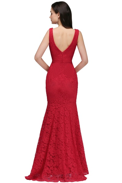 Elegant Mermaid Lace V-Neck Sleeveless Floor-Length Bridesmaid Dresses_2