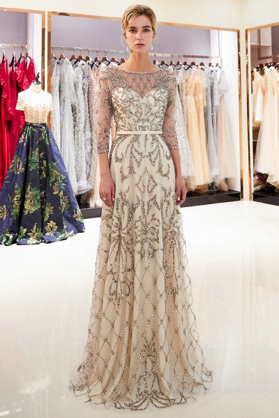 A-line Illusion Neckline Beading Evening Gowns with Sleeves_10