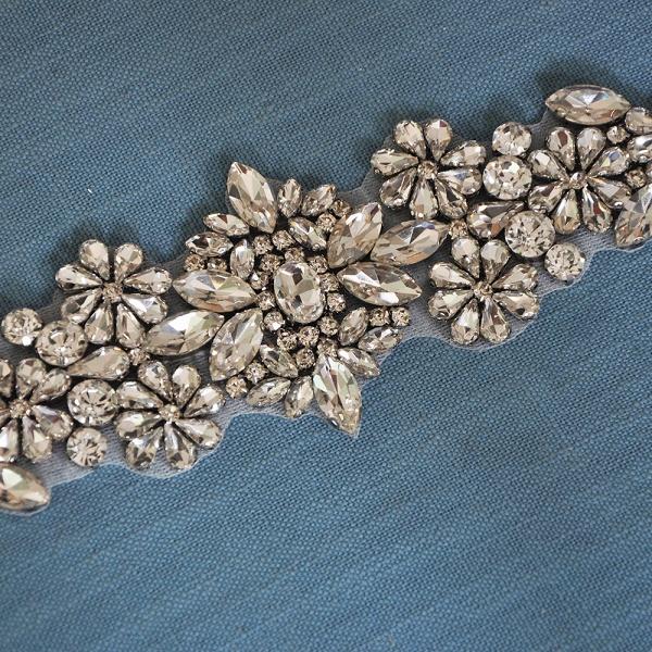 Satin Flowers Pattern Wedding Sash with Pearls_10