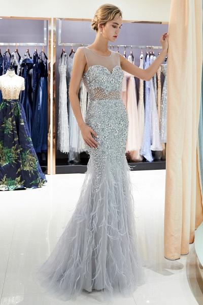 Sleeveless Mermaid Illusion Neckline Crystal Sqeuined Tulle Evening Dresses_5