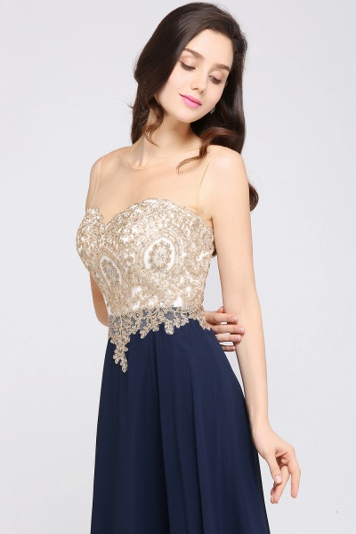 A-Line Chiffon Tulle Lace Scoop Sleeveless Floor-Length Bridesmaid Dress with Beadings_4