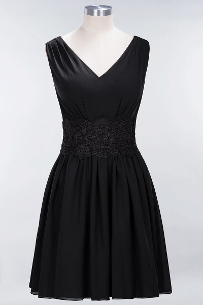 A-line Chiffon Lace V-Neck Sleeveless Mini Bridesmaid Dresses_28