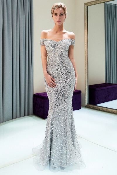 Beautiful Off-the-shoulder Tulle Mermaid Prom Dress_1