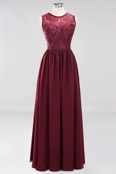 A-line Chiffon Lace Jewel Sleeveless Ruffles Floor-Length Bridesmaid Dresses with Appliques_7