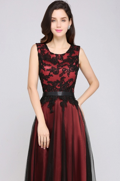 Elegant A-Line Tulle Lace Sleeveless Floor-Length Bridesmaid Dress with Sash_3