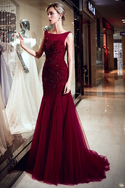 Mermaid Sleeveless Sequined Tulle Burgundy Long Evening Gowns_6