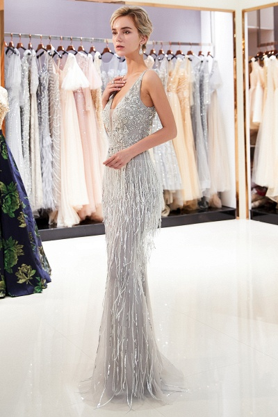 Latest Vneck Beading Fringe Tulle Mermaid Prom Dress_6