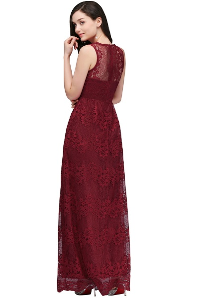 A-Line Lace Deep-V-Neck Sleeveless Floor-Length Bridesmaid Dresses_2