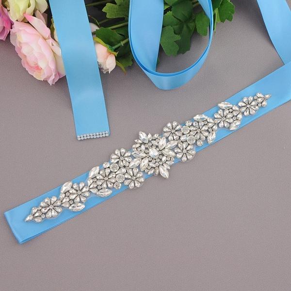 Satin Flowers Pattern Wedding Sash with Pearls_7