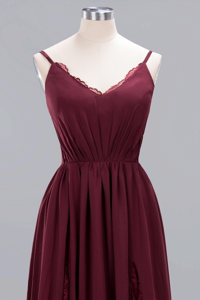 BM0213 A-Line Chiffon V-Neck Spaghetti Straps Long Bridesmaid Dress_16