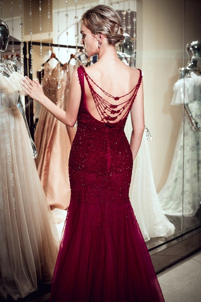 Mermaid Sleeveless Sequined Tulle Burgundy Long Evening Gowns_8