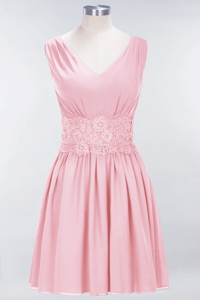 A-line Chiffon Lace V-Neck Sleeveless Mini Bridesmaid Dresses_4