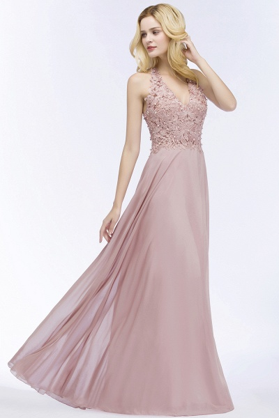 A-line Chiffon Appliques V-neck Sleeveless Floor-Length Bridesmaid Dresses with Pearls_3