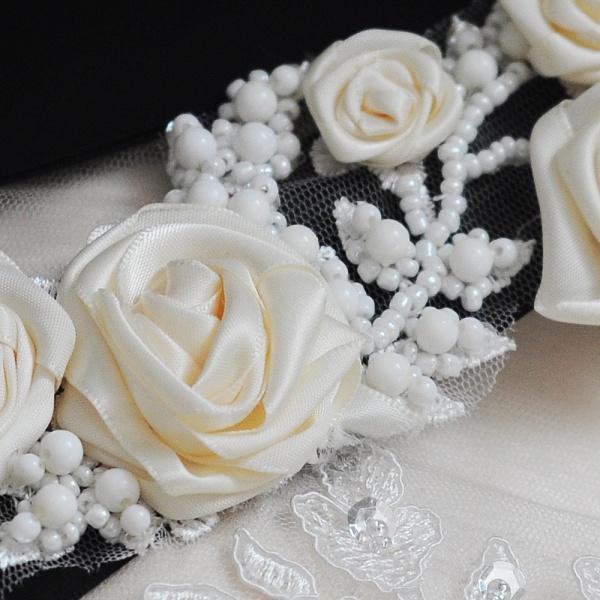 Elegant Satin Flowers Wedding Sash with Beadings_5