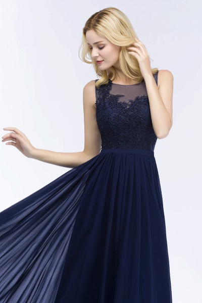 A-line Chiffon Appliques Scoop Sleeveless Floor-Length Bridesmaid Dresses_4
