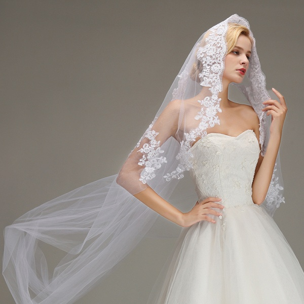 One Layer Cathedral Length Wedding Veil with Comb_5