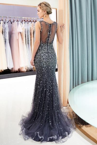 Mermaid V-neck Sleeveless Crystals Beading Floor Length Party Dresses_18