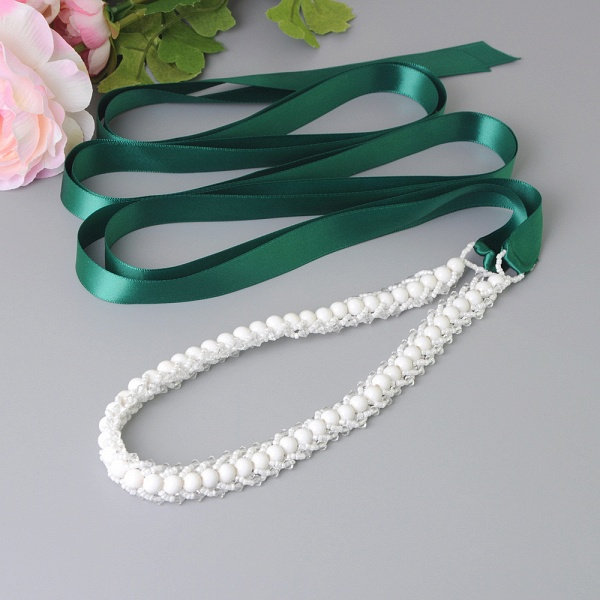 Satin Beadings Wedding Sash with Pearls_7