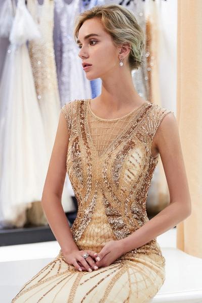 Sleeveless Mermaid Golden Sequins Beading Formal Prom Dresses_8